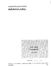 Service and User Manual Tektronix DC 501