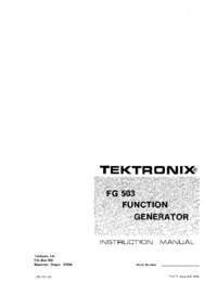 Service and User Manual Tektronix FG 503