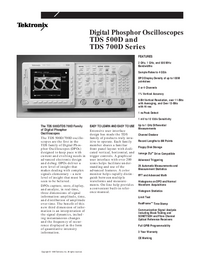 Fiche technique Tektronix TDS 500D Series