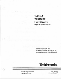 Service and User Manual Tektronix 2402A