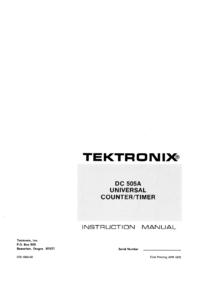 Обслуживание и Руководство пользователя Tektronix DC 505A