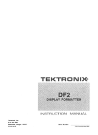 Serwis i User Manual Tektronix DF2