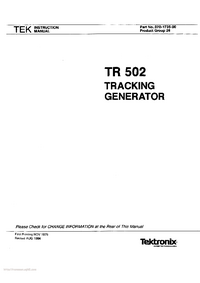 Servicio y Manual del usuario Tektronix TR 502