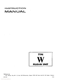 Service and User Manual Tektronix Type W