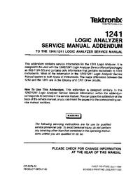 Supplément manuel de réparation Tektronix 1241