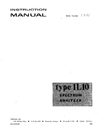 Service and User Manual Tektronix 1L10