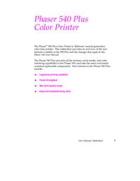 Manual del usuario Tektronix Phaser 540 Plus