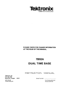 Service and User Manual Tektronix 7B92A