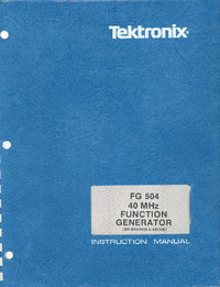 Service and User Manual Tektronix FG 504