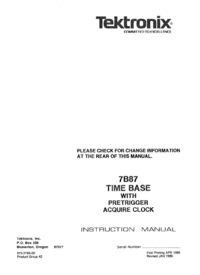 Service and User Manual Tektronix 7B87