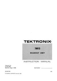 Обслуживание и Руководство пользователя Tektronix 7M13