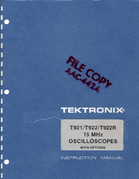 Servicio y Manual del usuario Tektronix T922R