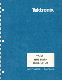 Service and User Manual Tektronix TG 501