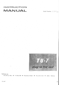 Servicio y Manual del usuario Tektronix TU-7
