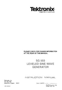 Обслуживание и Руководство пользователя Tektronix SG-503