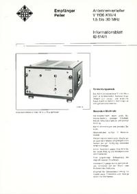 Dane techniczne Telefunken V1106 KW/4