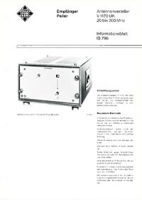 Dane techniczne Telefunken V1170 UK