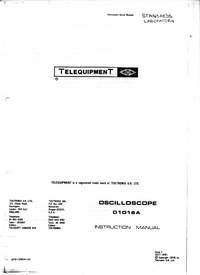Service and User Manual Telequipment D1016A