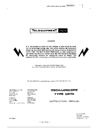 Обслуживание и Руководство пользователя Telequipment D67A