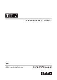 User Manual Thurlby 1604