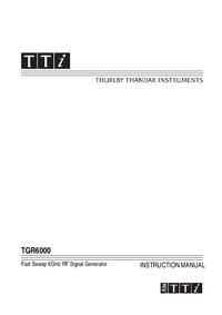 Gebruikershandleiding Thurlby TGR6000