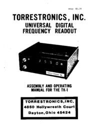 Gebruikershandleiding Torrestronics TK-1