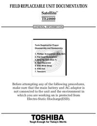 Руководство по техническому обслуживанию Toshiba Satellite TE2000