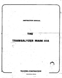 Service and User Manual Transel Transalyzer Mark IIIA