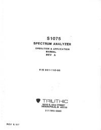User Manual Trilithic S1075