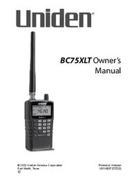 User Manual Uniden BC75XLT