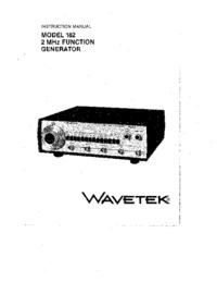 Serviço e Manual do Usuário Wavetek 182