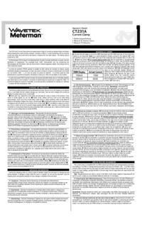 User Manual Wavetek CT231A