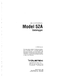 User Manual Wavetek 52A