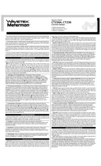 User Manual Wavetek CT236