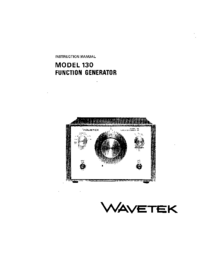 Service and User Manual Wavetek 130