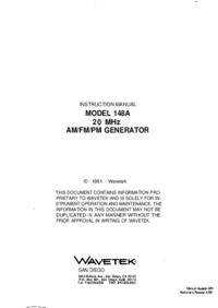 Bedienungsanleitung Wavetek 148A