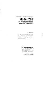 Обслуживание и Руководство пользователя Wavetek 288