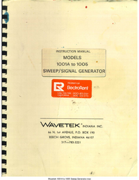 Serwis i User Manual Wavetek 1004-1