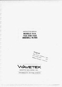 Service and User Manual Wavetek 751A