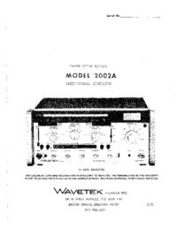 Servizio e manuale utente Wavetek 2002A