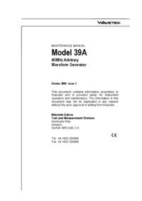 Manuale di servizio Wavetek 39A