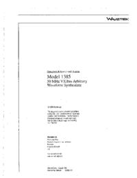 Manuel de l'utilisateur Wavetek 1385