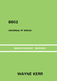 Service Manual Wayne_Kerr B602