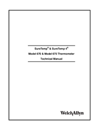 Service et Manuel de l'utilisateur Welchallyn SureTemp® Model 670