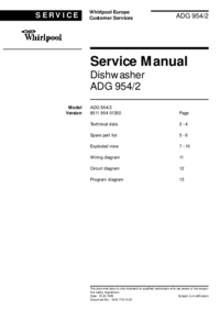 Manual de servicio Whirlpool ADG 954/2