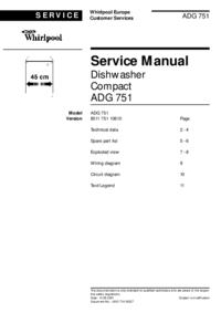 Руководство по техническому обслуживанию Whirlpool ADG 751