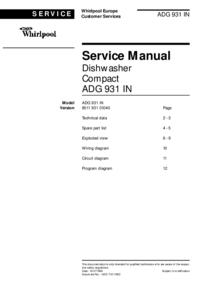 Manuale di servizio Whirlpool ADG 931 IN