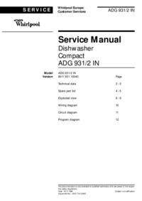 Manual de serviço Whirlpool ADG 931/2 IN