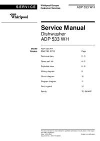 Руководство по техническому обслуживанию Whirlpool ADP 533 WH