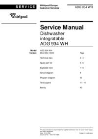 Руководство по техническому обслуживанию Whirlpool ADG 934 WH